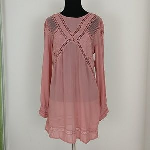 TopShop Boho Peasant Lace Pink Mini Dress Tunic